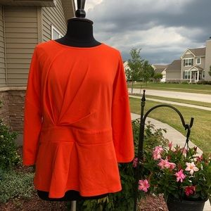 Eloquii Peplum Top EUC Tangerine Orange